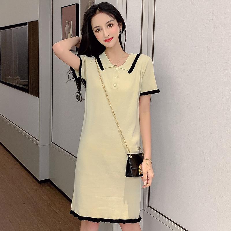 牛油果綠連衣裙女2019新款夏短款氣質打底裙修身冰絲短裙針織裙子