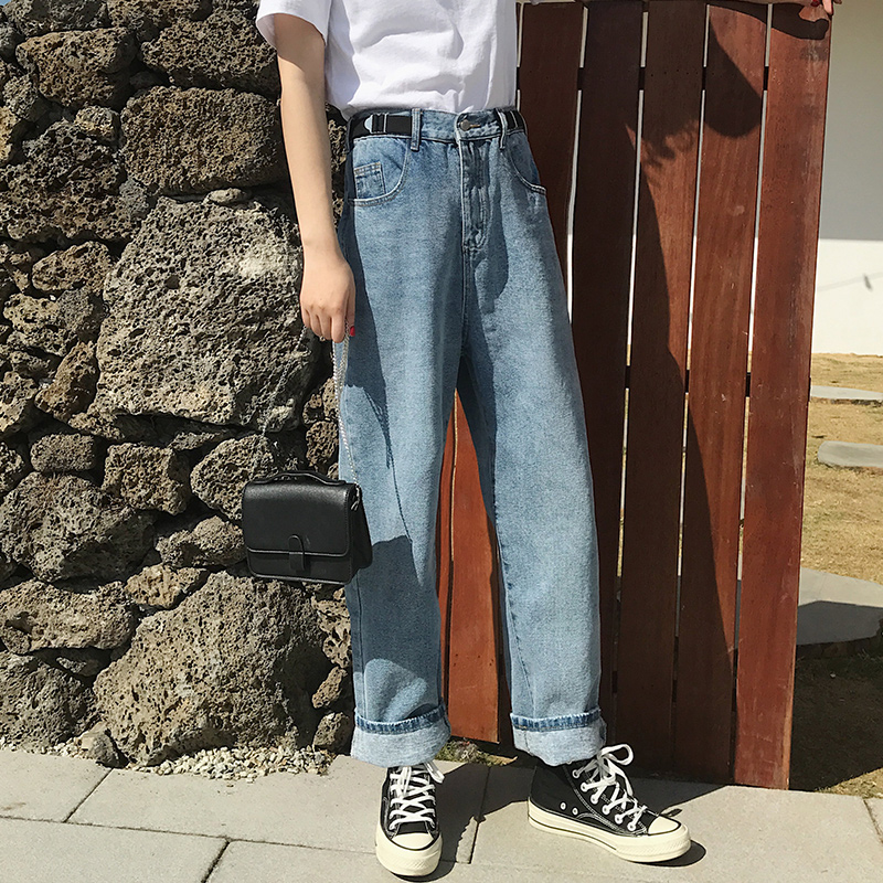 韓國時尚百搭拖地長褲寬松高腰闊腿褲顯瘦牛仔褲女學生長褲