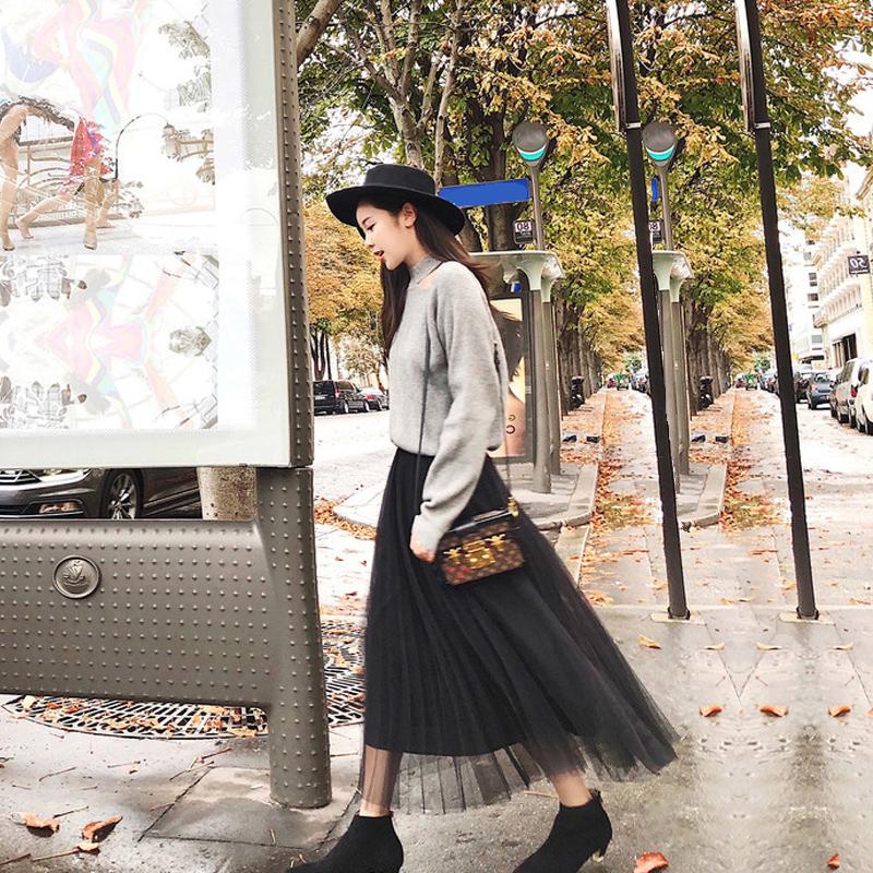 秋季新款女裝小香風約會必備網紗裙套裝慵懶風毛衣兩件套裙