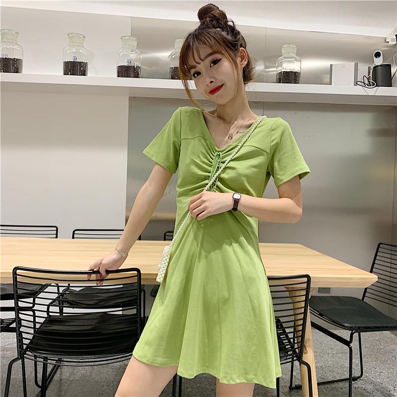 夏季韓版抽繩收腰顯瘦百搭學生森系高腰短袖A字牛油果綠連衣裙女