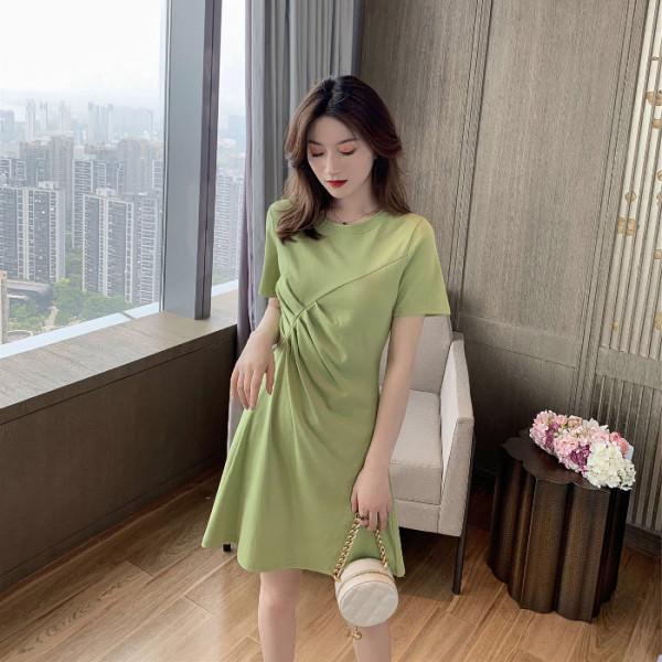 2019夏季新款韓版牛油果綠褶皺連衣裙女小個子顯瘦簡約百搭桔梗裙