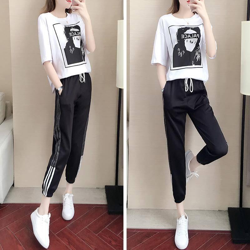 2019夏装新款短袖休闲运动套装女宽松韩版洋气网红长裤两件套夏季