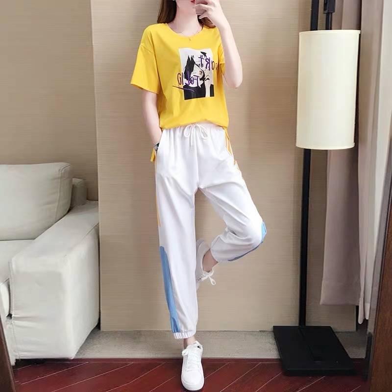 夏装2019新款运动套装女宽松韩版休闲洋气网红法式小众两件套夏天