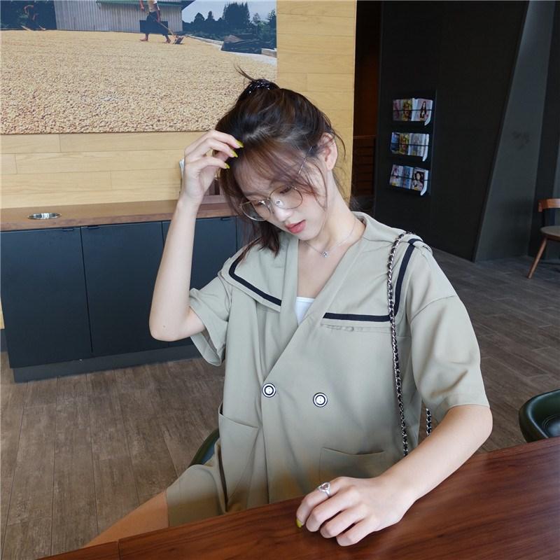 實拍實價 控價49 2019夏季新款中長款海軍風襯衫V領短袖