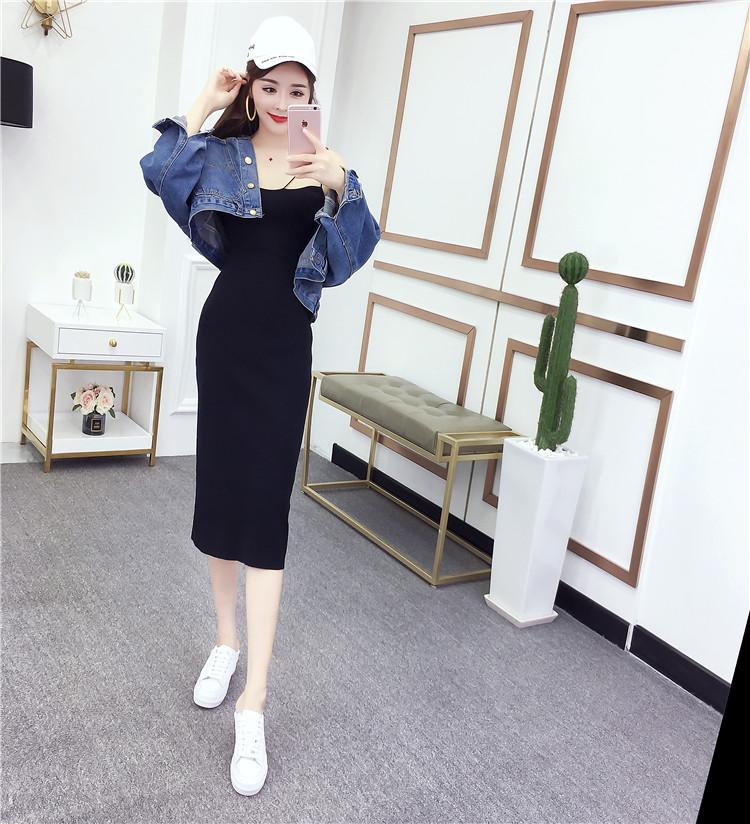實拍實價控價時尚休閑韓版口袋牛仔外套+針織吊帶連衣裙
