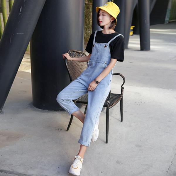 TS48643#韩版女装长裤宽松高腰显瘦口袋背带裤连体牛仔裤直筒裤