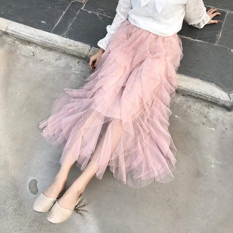 裙子女2019夏季新款韩版chic网红洋气百搭A字半身高腰网纱仙女裙