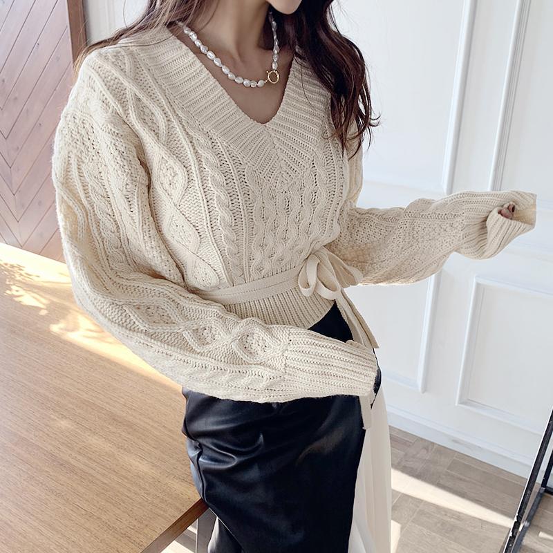 韩版短款v领毛衣女套头小心机露背后背绑带麻花菱格针织衫女装