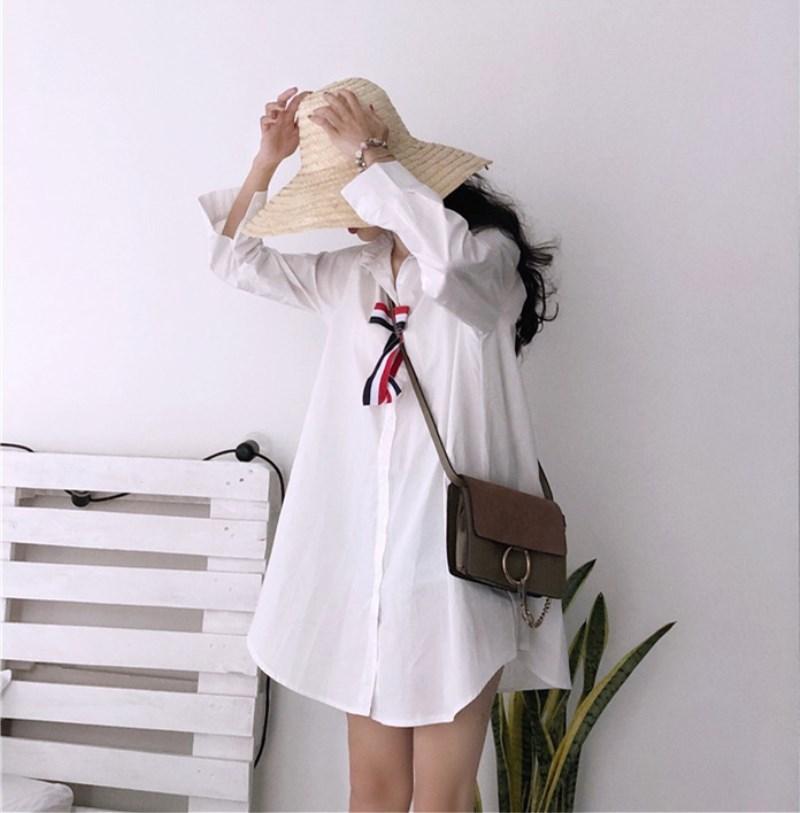 實拍實價 控價42 減齡時尚百搭條紋蝴蝶結寬松超仙襯衫連衣裙