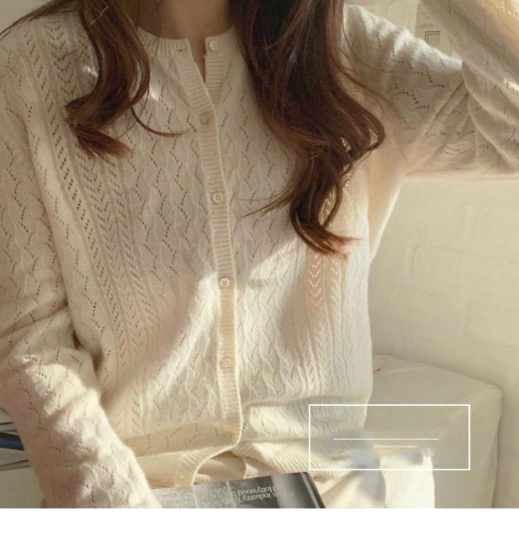 秋冬新款镂空圆领防晒针织开衫女短款毛衣宽松显瘦针织小外套薄款