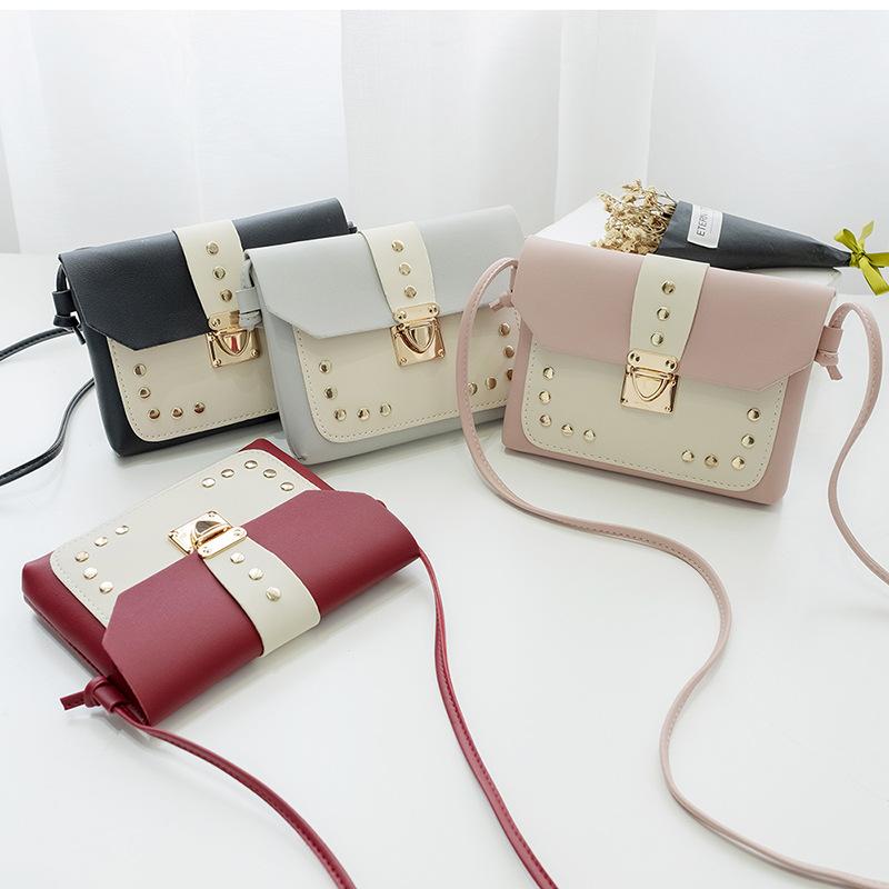 韩版柳钉小方包外贸小包批发锁扣手机包时尚女包一件代发源头工厂