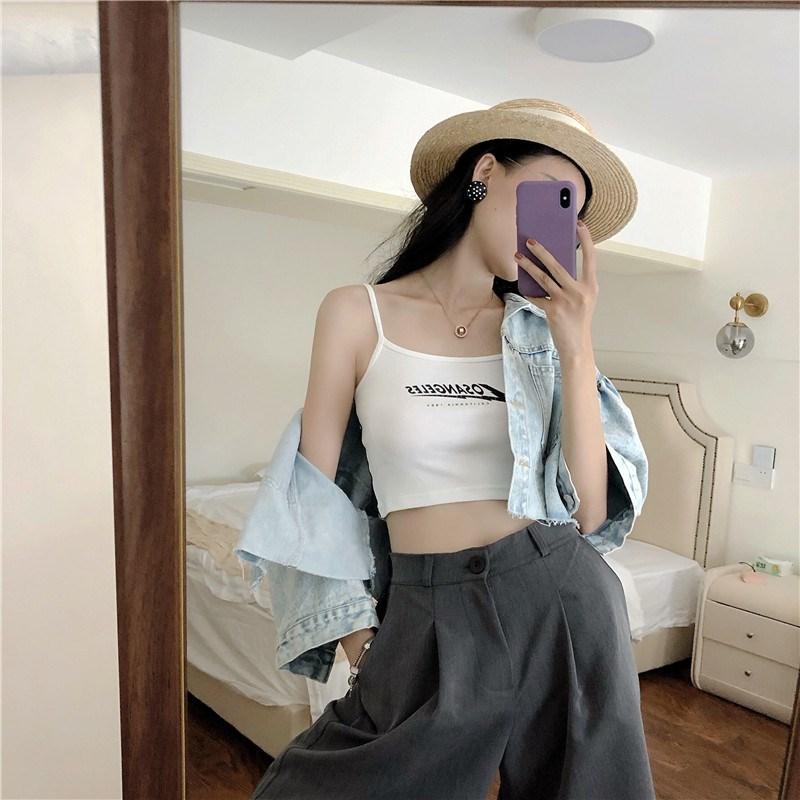 實拍實價 小字母吊帶背心夏季韓版外穿性感顯瘦修身短款打底衫