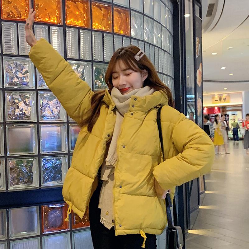 实拍19韩国东大门冬季轻薄羽绒棉服女短款宽松学生bf棉衣外套网红