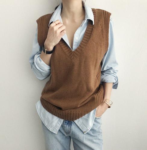 韓國naning9官網代購2019秋季新款韓版純色寬松V領針織馬甲女