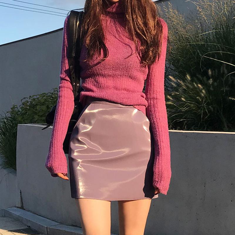 紫色小皮裙半身裙 2019新款亮皮漆皮PU皮高腰包臀a字裙短裙女春秋