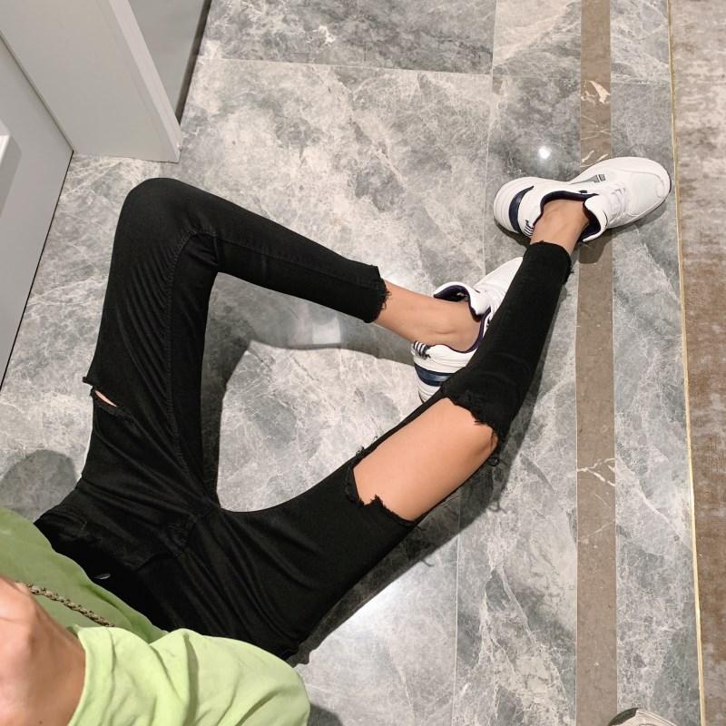 拍實價 控價47 破洞牛仔褲小腳九分褲新款韓版修身顯瘦緊身褲