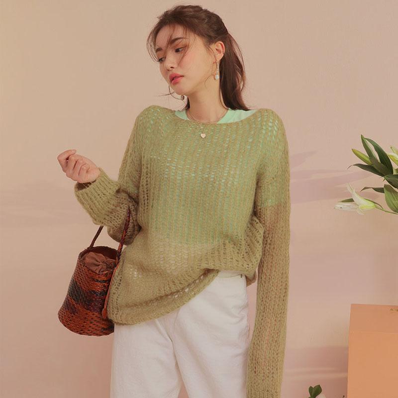 韩国爆款女装上衣2019秋季新款时尚加长袖镂空透肤针织衫薄毛衣女