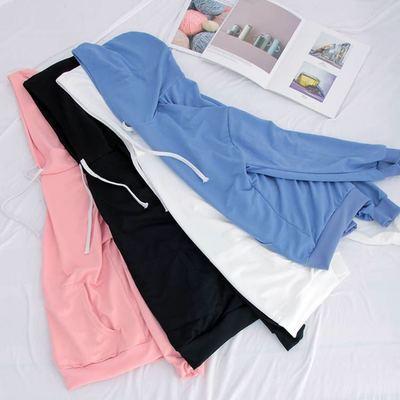 단색 스웨터 여성 한국 학생 느슨한 후드 재킷 야생 긴 섹션 긴팔 셔츠 가을