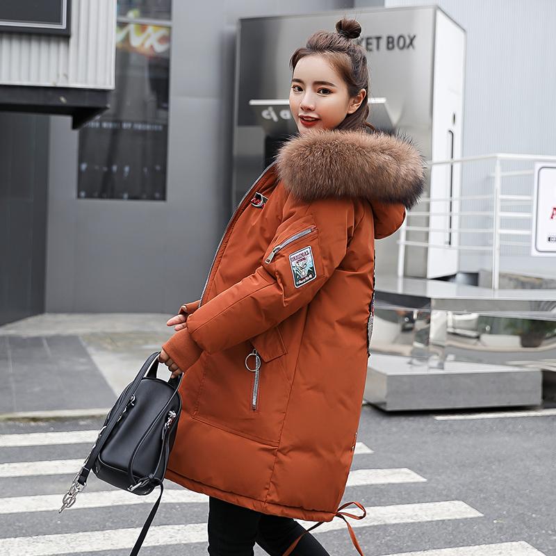 實拍2019新款秋冬裝羽絨服女韓版大碼寬松中長款棉服外套面包服