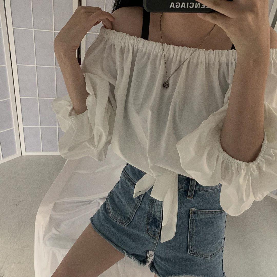 韩版chic复古风性感一字肩泡泡袖抽绳衬衫上衣女短款