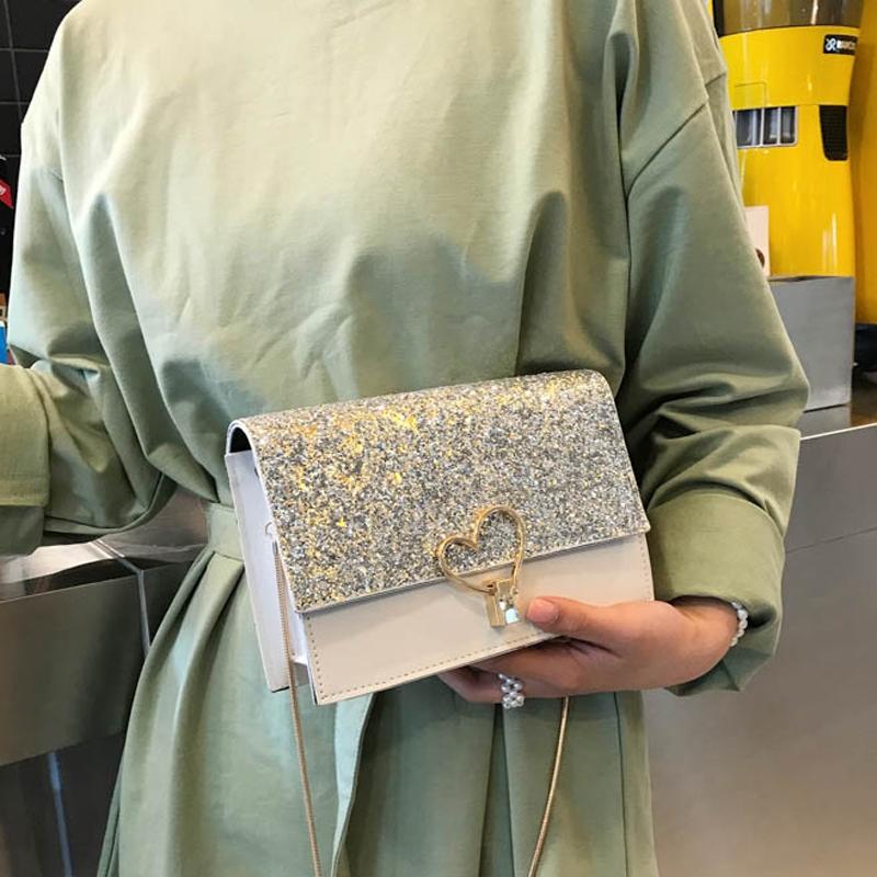 夏季2019新款韩版潮链条小方包时尚亮片女包包洋气女包单肩斜挎包