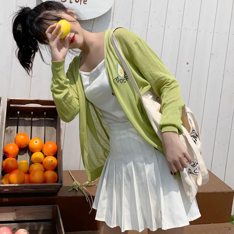 冰丝针织开衫女夏薄款宽松防晒衫牛油果绿小披肩空调衫外搭短外套