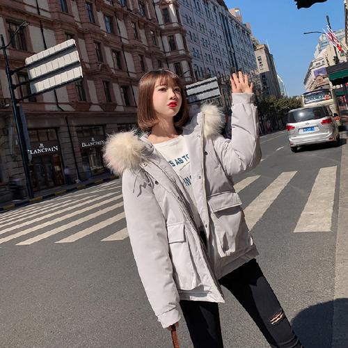 实拍2019韩国东大门羽绒服女短款大毛领宽松学生bf棉衣面包服网红