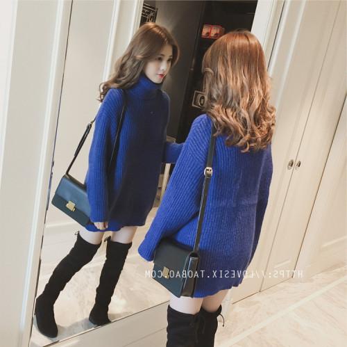 秋冬季新款韓版高領中長款寬松寶藍色針織連衣裙女裝打底毛衣裙