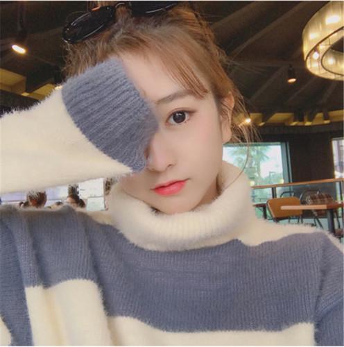 2019秋冬季新款韓版高領慵懶風寬松毛衣女裝小清新甜美套頭打底衫