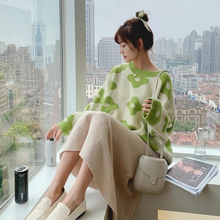 牛油果綠很仙的套頭毛衣女寬松外穿慵懶風韓版學生洋氣上衣針織衫