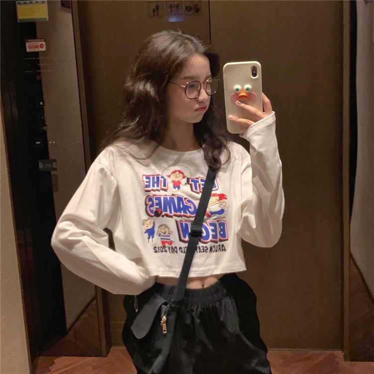 韓版寬松露臍短款趣味減齡卡通印花學生長袖T恤