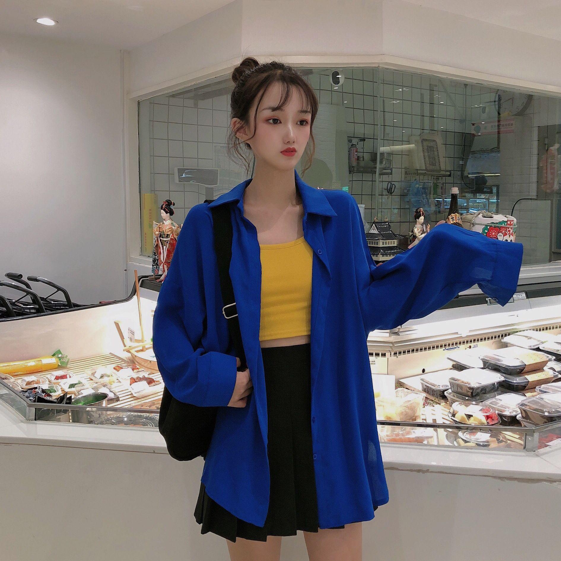 實拍實價 韓版百搭蝙蝠袖寬松翻領排扣長袖純色中長款襯衫女