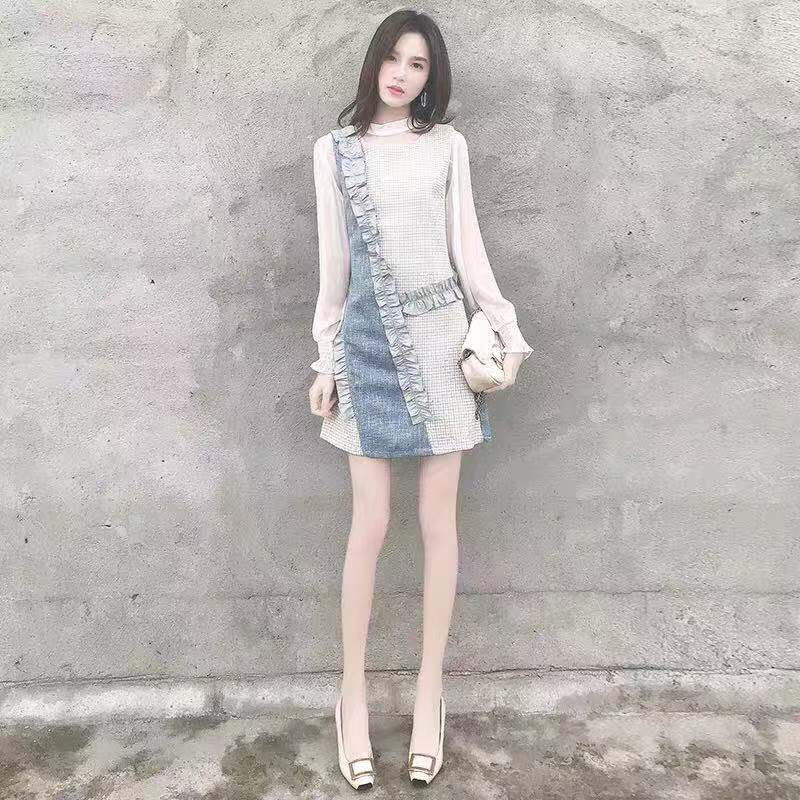 妍莉芬 御姐套裝兩件套冬裙女秋冬洋氣時尚顯瘦襯衫背心
