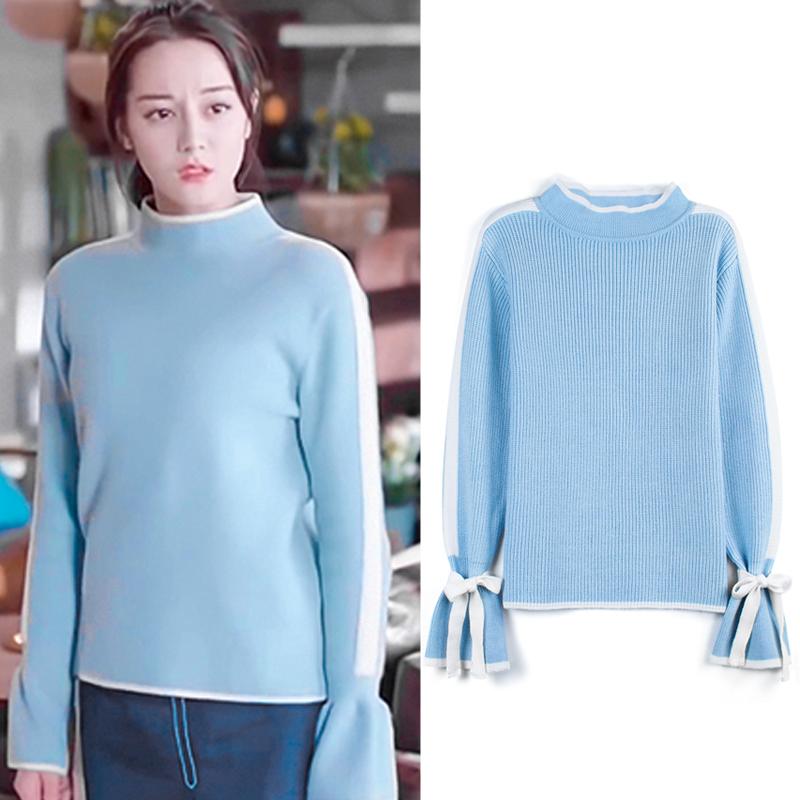 一千零一夜迪麗熱巴明星同款淺藍色條紋荷葉袖系帶蝴蝶結針織毛衣