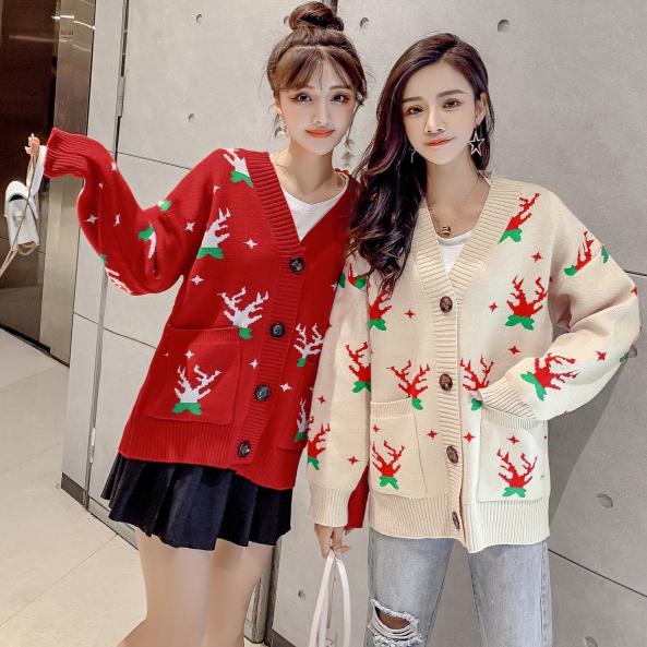 实拍2019新款秋季网红针织开衫宽松很仙的鹿角提花红色毛衣外套女