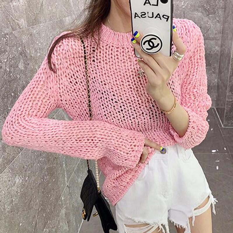 韩国女装ins网红款 纯色圆领洋气简约针织粗棒针薄款镂空针织罩衫