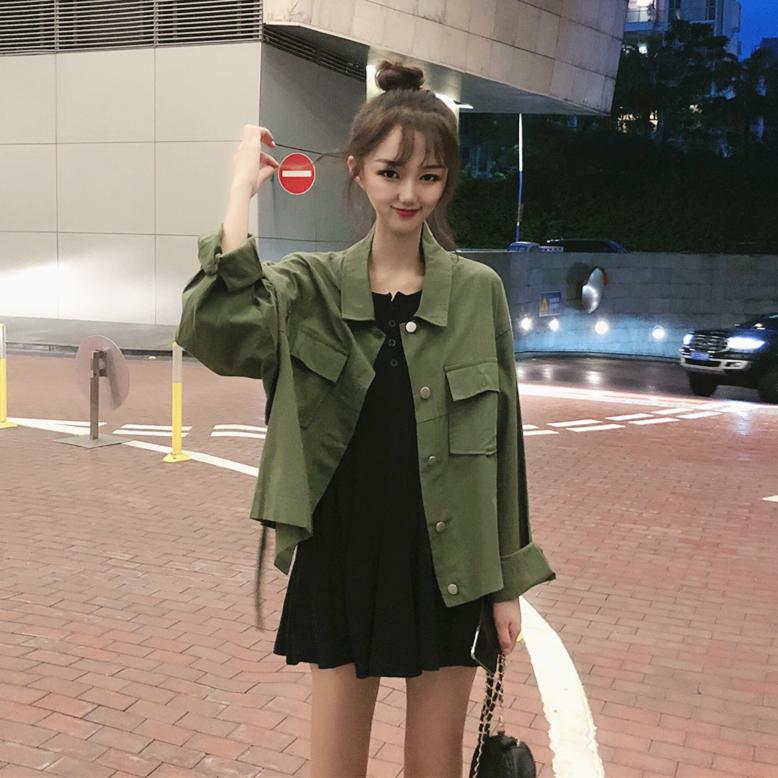 實拍實價控價5 秋季韓版新款復古工裝風寬松中長款小眾系帶外套