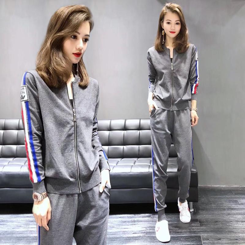 歐洲站2019新款針織休閑運動服套裝女春秋裝時尚洋氣兩件套歐貨潮