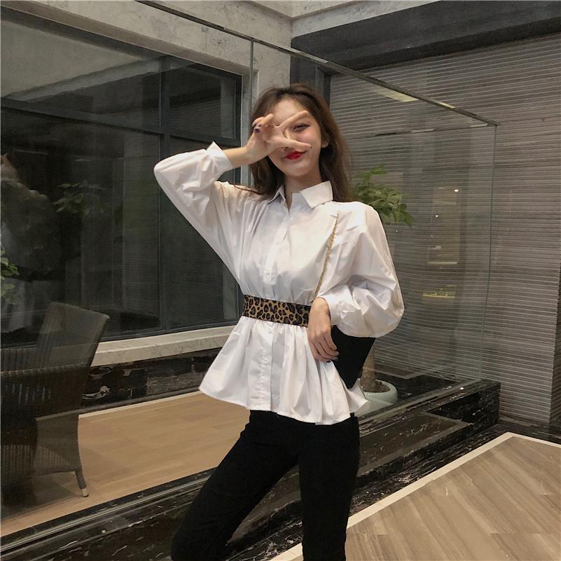 實拍實價#2019秋冬新款設計感韓版收腰內搭白襯衣 送腰帶