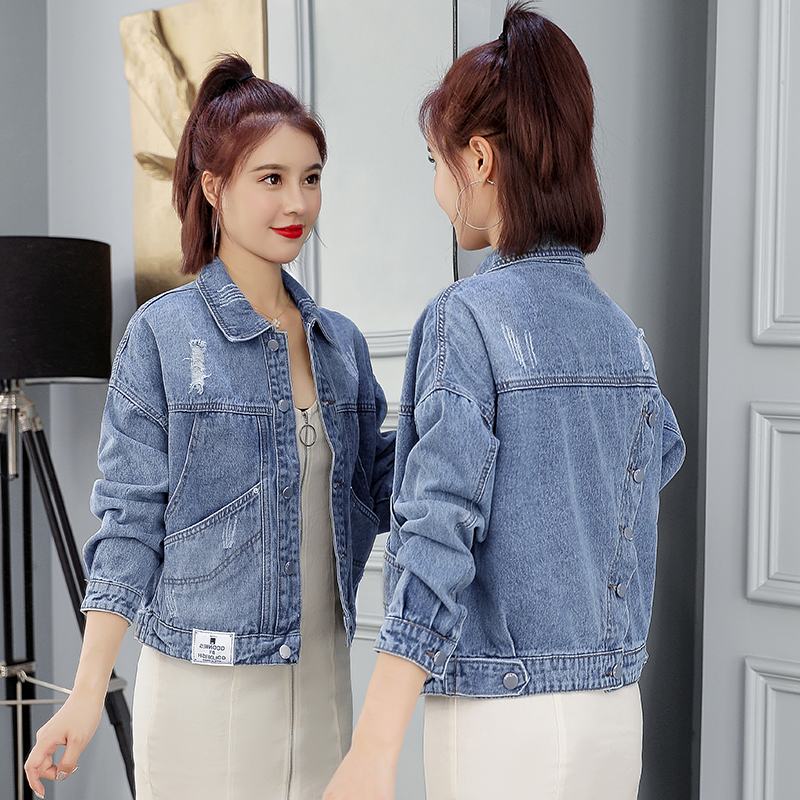 리얼 샷 2019 봄과 가을 새로운 다시 기울어 진 디자인 짧은 섹션 데님 재킷 느슨한 야생 청바지 여성 한국어 버전