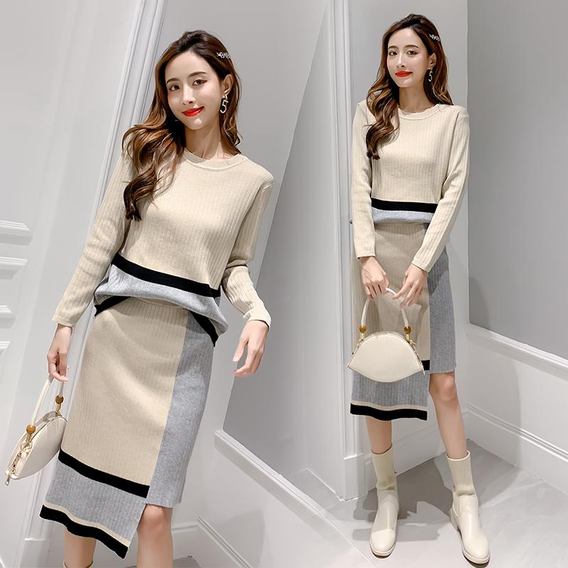 2019秋季新款針織套裝女 毛衣套裝女 針織衫套裝女 兩件套