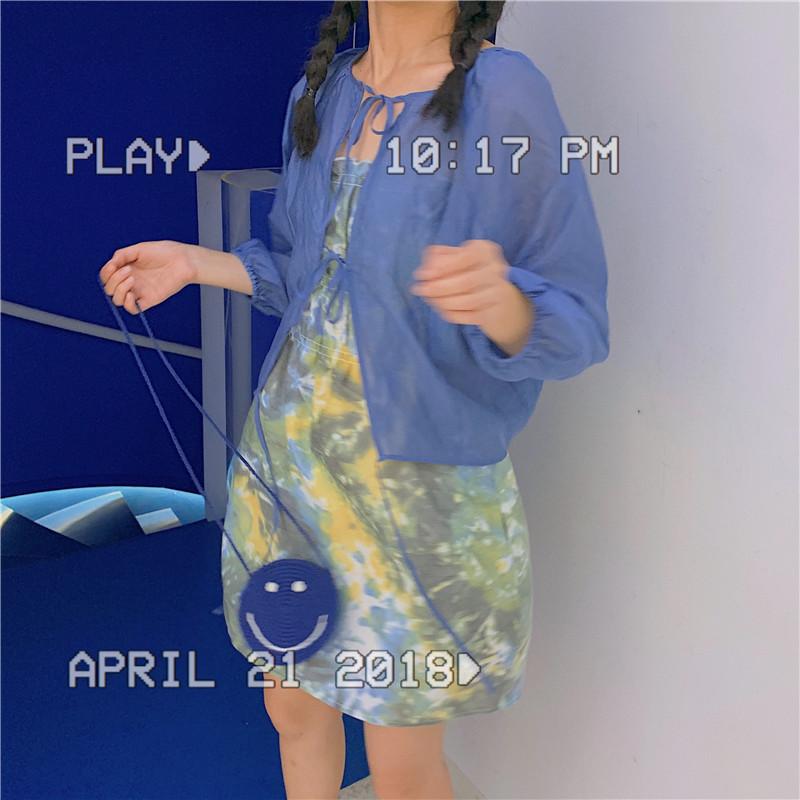 实拍实价 控5 夏季新款圆领透气百搭套头衫+松紧泡泡吊带连衣裙