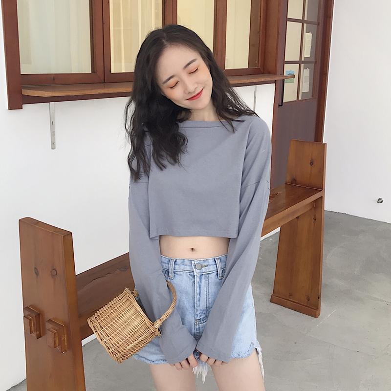 实拍2019秋装学院风宽松短款纯色简约打底衫学生显瘦长袖T恤女