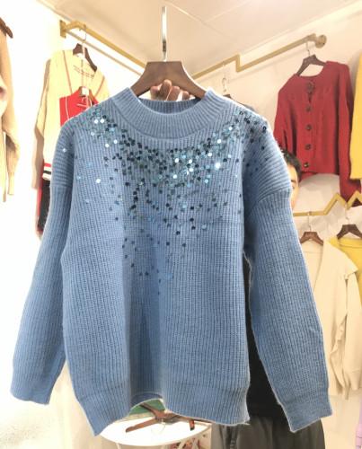 實拍毛衣女2019新款寬松百搭慵懶風洋氣網紅圣誕亮片針織衫上衣