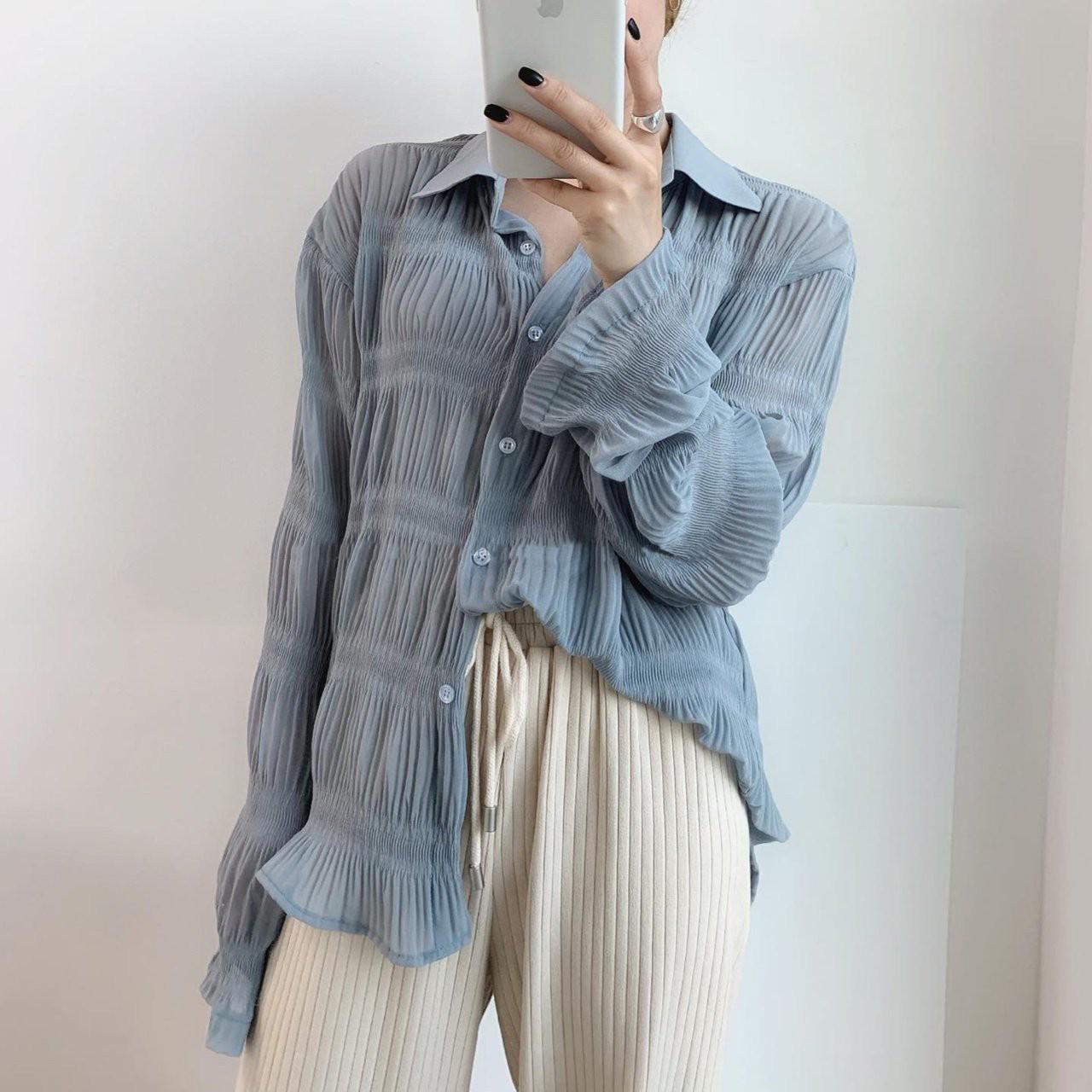 雪纺衬衫两件套女2019新款韩版复古荷叶袖超薄原宿压褶衬衣