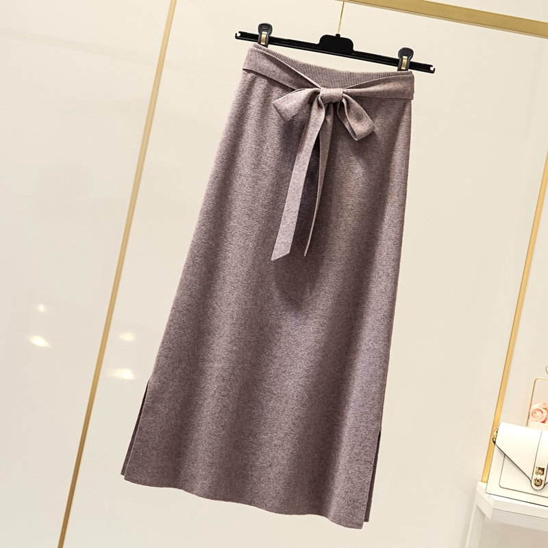 ulzzang裙子女秋冬裝顯瘦開叉針織高腰中長裙兔毛半身裙