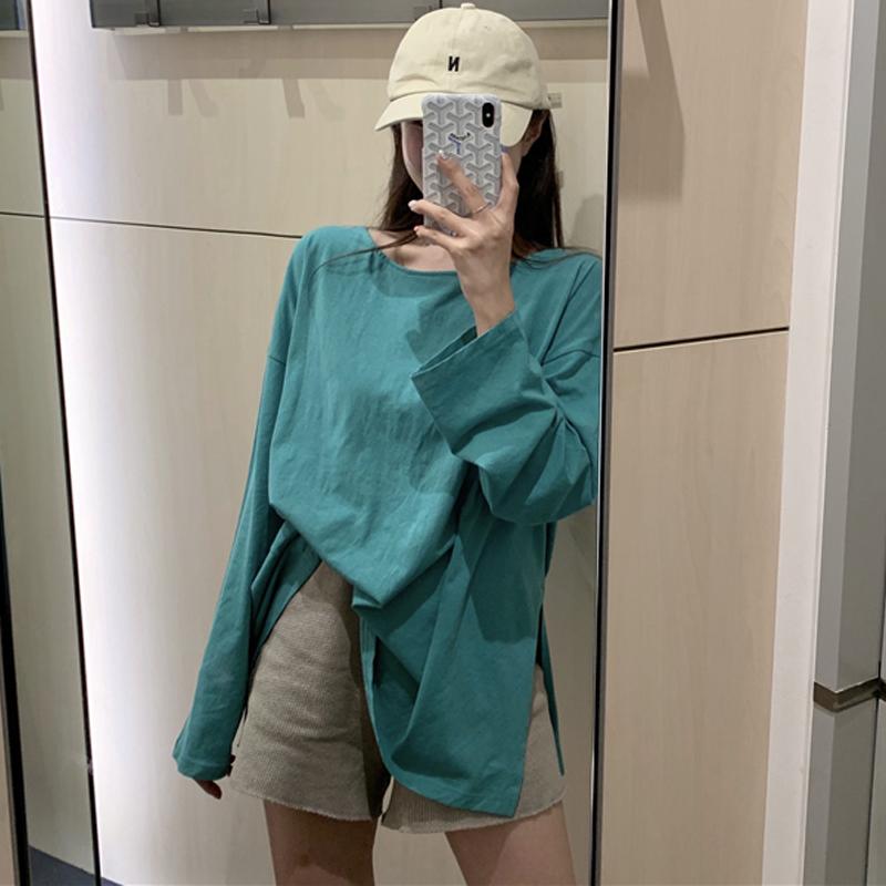 秋季新款韩版绿色宽松圆领中长款百搭网红长袖T恤女ins