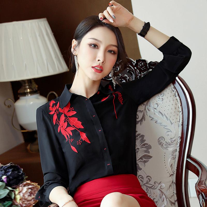 2019秋季新款女装POLO领衬衣雪纺上衣绣花长袖打底衫黑色修身衬衫