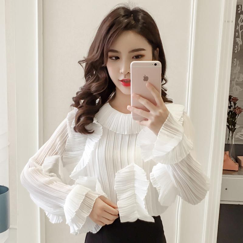 實拍 2019新款chic氣質時尚荷葉領皺褶風琴雪紡長袖襯衫女