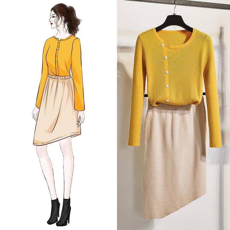 實拍2019秋季新款針織套裝女 毛衣套裝女 針織衫套裝女 兩件套